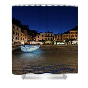 Portofino Bay By Night IIi- Piazzetta Di Portofino By Night Shower Curtain