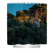 Portofino Bay By Night Vi - Castello Brown Shower Curtain