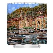 Portofino-la Piazzetta E Le Barche Shower Curtain