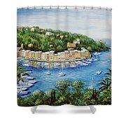 Portofino Majestic Panoramic View Shower Curtain by Marilyn Dunlap