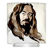 Watercolor Portrait Of A Man With Long Hair Shower Curtain