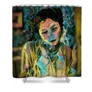 Portrait Colorful Female Wistfully Thoughtful Pastel Shower Curtain