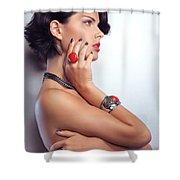 Portrait Of A Beautiful Woman Wearing Jewellery Shower Curtain