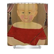 Portrait Of A Blonde Boy With Red Dress With Whip Shower Curtain