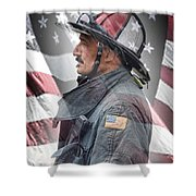 Portrait Of A Fire Fighter Shower Curtain