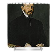 Portrait Of A Gentleman Half-length Wearing A Black Suit Shower Curtain