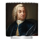 Portrait Of A Gentleman Half Length Wearing A Wig And A Blue Velvet Cape Shower Curtain