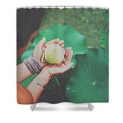 Portrait Of A Girl Holding Gently A Lotus Flower In Her Hands Shower Curtain