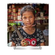 Portrait Of A Khmer Girl - Cambodia Shower Curtain