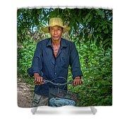 Portrait Of A Khmer Rice Farmer - Cambodia Shower Curtain