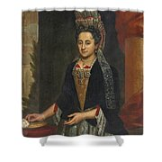Portrait Of A Lady Half Length In A Mantua Gown And Lace Frelange Headdress Shower Curtain
