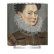 Portrait Of A Lady Head And Shoulders In A Lace Ruff Shower Curtain