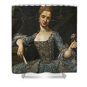 Portrait Of A Lady In An Elaborately Embroidered Blue Dress Shower Curtain