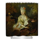 Portrait Of A Lady Seated In A Landscape With Her Pet Dog And A Monkey Shower Curtain
