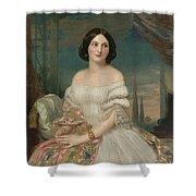 Portrait Of A Lady Sitting Under A Pergola Shower Curtain