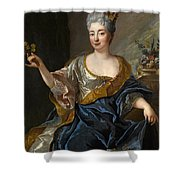 Portrait Of A Lady Three-quarter-length Holding Flowers Shower Curtain