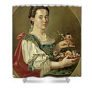 Portrait Of A Lady With A Flower Basket Shower Curtain