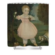 Portrait Of A Little Girl Picking Grapes Shower Curtain