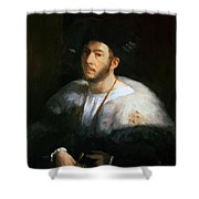 Portrait Of A Man Probably Cesare Borgia 1520 Shower Curtain