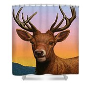 Portrait Of A Red Deer Shower Curtain by James W Johnson