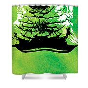 Rhino Animal Decorative Green Poster 8 - By  Diana Van Shower Curtain