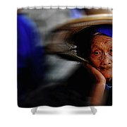 Portrait Of A Senior Lady In Yun Nan, China Shower Curtain