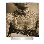 Portrait Of A Tattooed Woman Shower Curtain