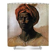 Portrait Of A Turk In A Turban Shower Curtain by Ferdinand Victor Eugene Delacroix