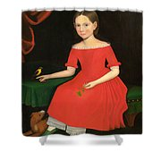 Portrait Of A Winsome Young Girl In Red With Green Slippers Dog And Bird Shower Curtain