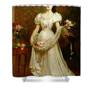 Portrait Of A Woman And Her Greyhound Shower Curtain by English School