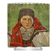 Portrait Of A Woman In A Red Scarf Shower Curtain