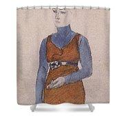 Portrait Of A Woman Late Xix - Early Xx Century Kuzma Sergeevich Petrov-vodkin Shower Curtain