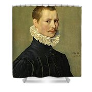 Portrait Of A Young Gentleman Head And Shoulders At The Age Of 23 Shower Curtain