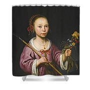 Portrait Of A Young Girl As A Shepherdess Holding A Sprig Of Flowers Shower Curtain