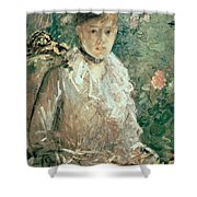 Portrait Of A Young Lady Shower Curtain by Berthe Morisot