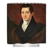 Portrait Of A Young Man In Front Shower Curtain