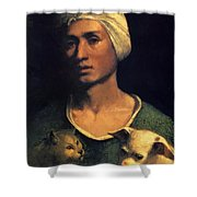 Portrait Of A Young Man With A Dog And A Cat Shower Curtain