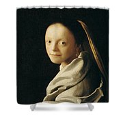 Portrait Of A Young Woman Shower Curtain by Jan Vermeer