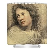 Portrait Of A Young Woman Looking Over Her Shoulder Shower Curtain