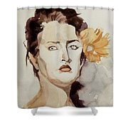 Portrait Of A Young Woman With Flower Shower Curtain