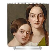 Portrait Of Alexandrine Pazzani And Her Cousin Caroline Von Saar According To Family Tradition Shower Curtain