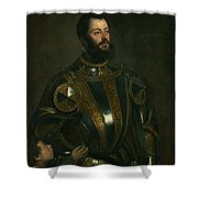 Portrait Of Alfonso D'avalon -  Marquis Of Vasto - In Armor With A Page Shower Curtain
