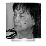 Portrait Of An Attractive Filipina Woman With A Mole On Her Cheek Shower Curtain