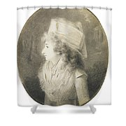 Portrait Of An Elegant Lady In Profile, Wearing A Hat Shower Curtain