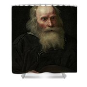 Portrait Of An Old Man Begging By Michael Sweerts Shower Curtain