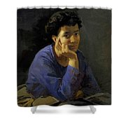 Portrait Of An Unknown Woman In A Blue Blouse Shower Curtain