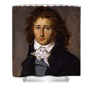 Portrait Of Artist Francois Gerard, Aged 20, Ca 1790 By Antoine-jean Gros. Shower Curtain