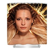 Portrait Of Beautiful Woman Face With Glowing Golden Blond Hair Shower Curtain