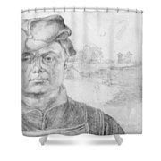 Portrait Of Caspar Tower And A River Landscape 1520 Shower Curtain