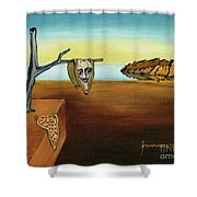 Portrait Of Dali The Persistence Of Memory Shower Curtain